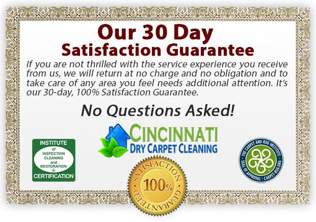 Cincinnati Dry Carpet Cleaning Guarantee